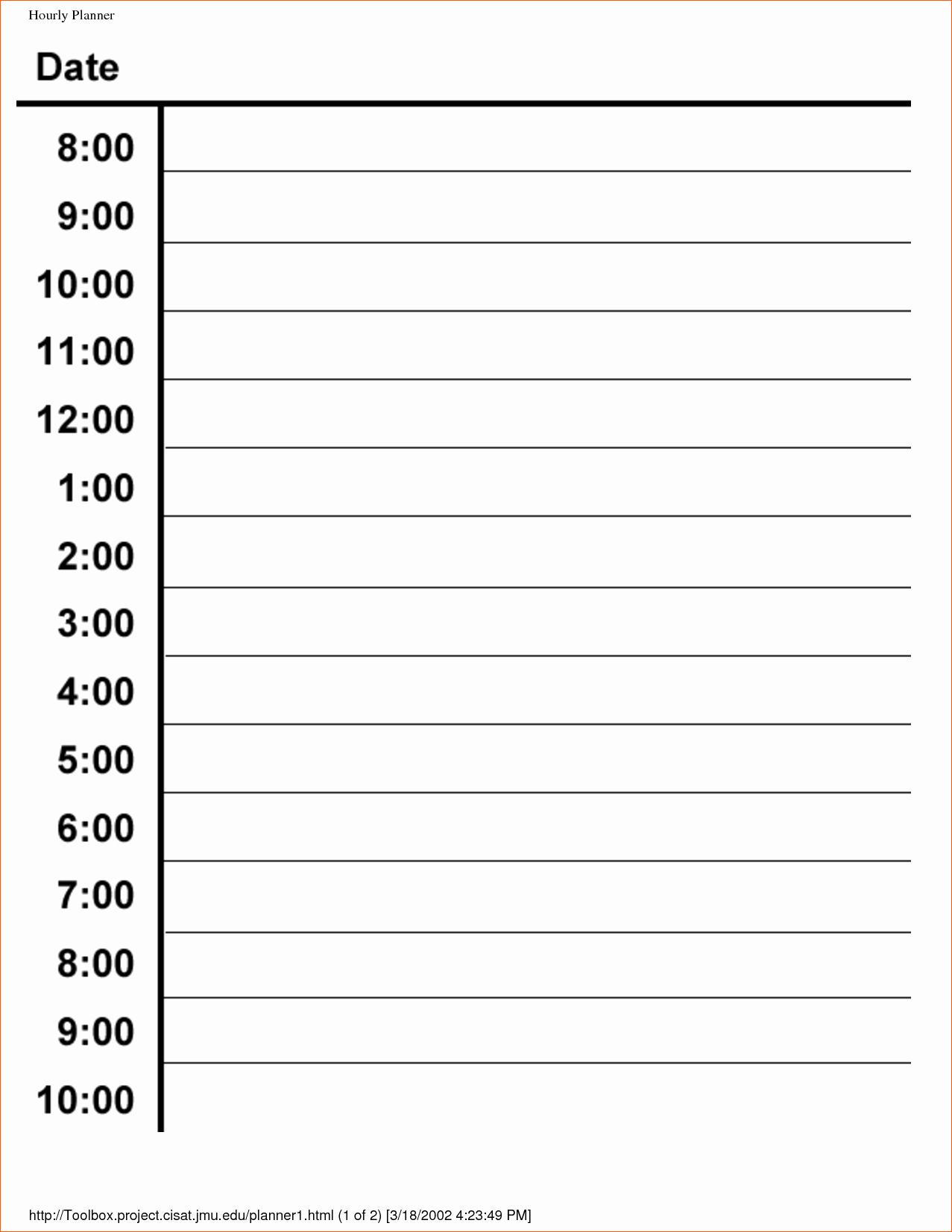 7 Hourly Schedule Template