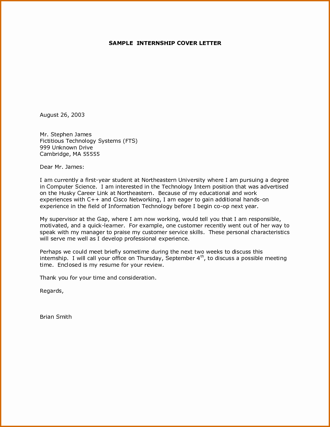 7 intern cover letter example