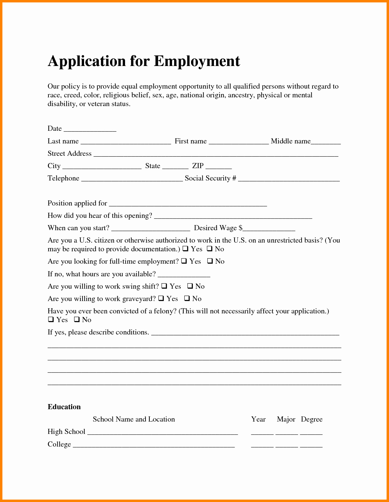 7 Job Application for Employment