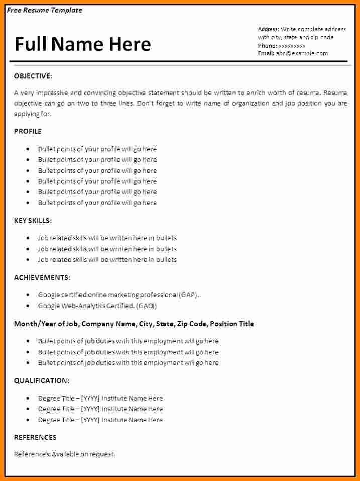 7 Job Resume format Ms Word