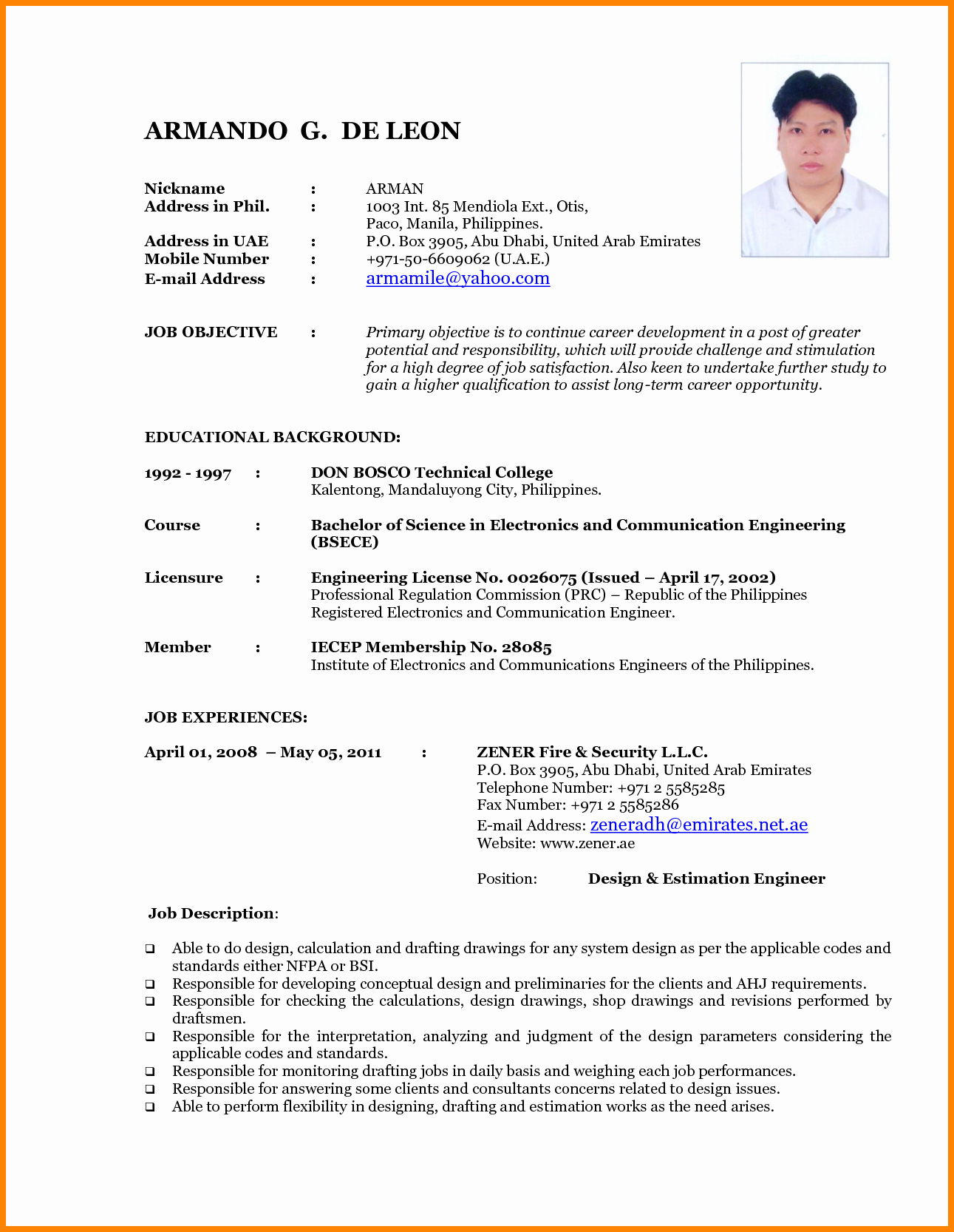 7 Latest Resume format Sample
