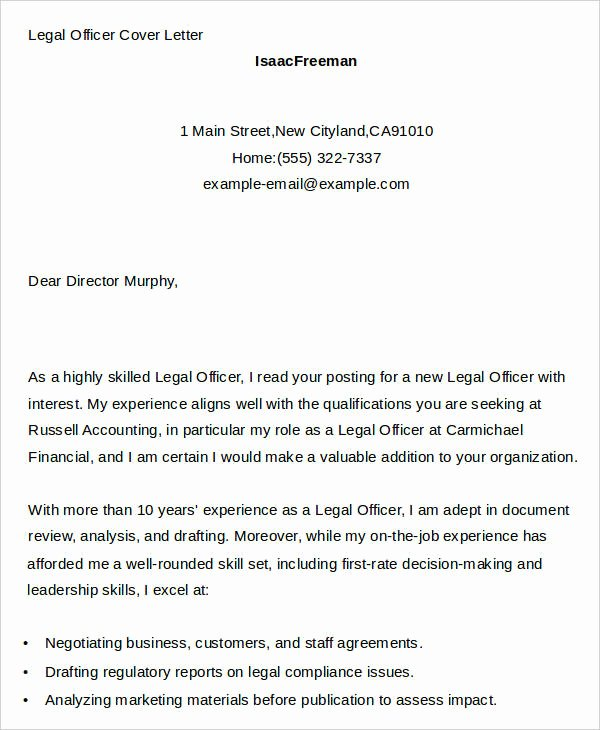 7 Legal Cover Letters Free Sample Example format