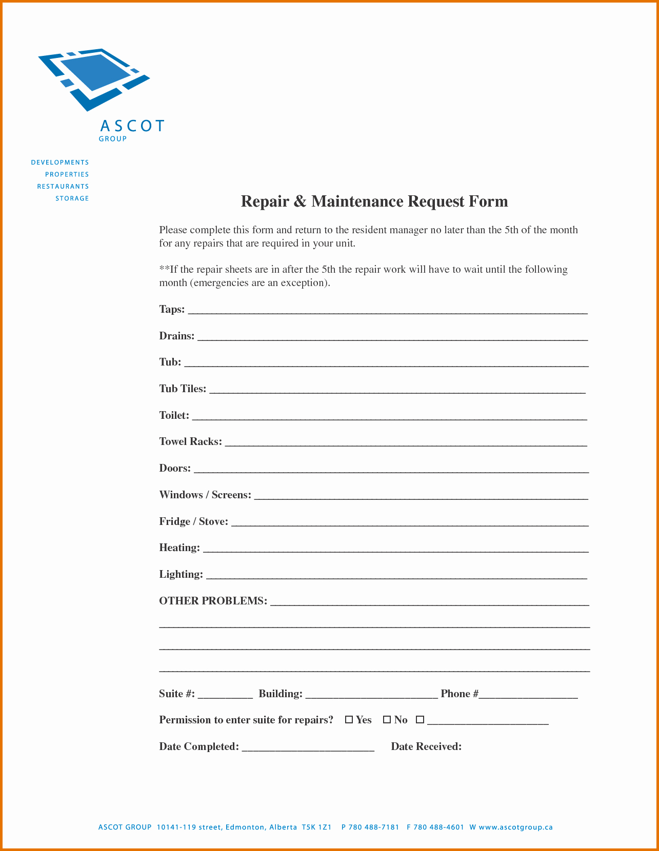 7 Maintenance Request form Templatereference Letters