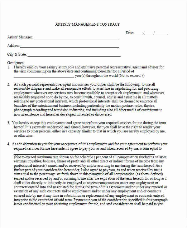 7 Management Contract Template – Free Sample Example