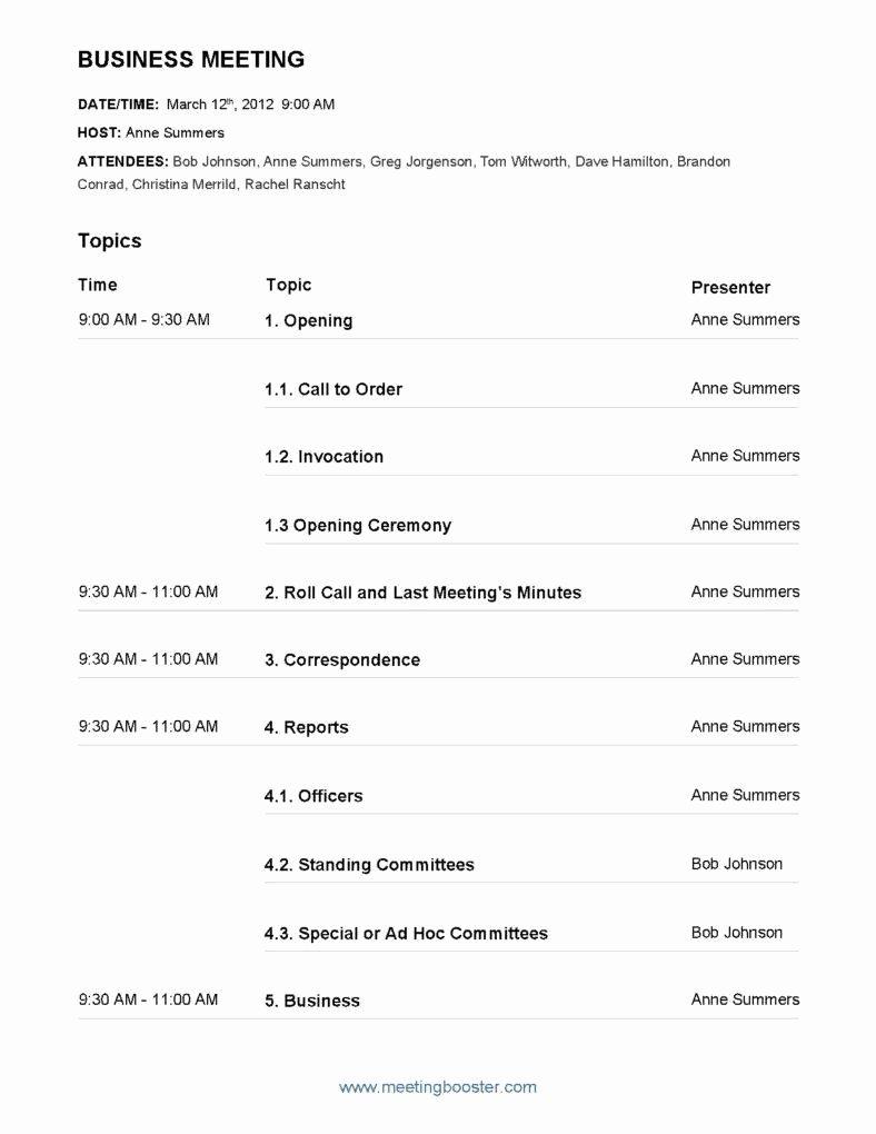 7 Meeting Agenda Templates