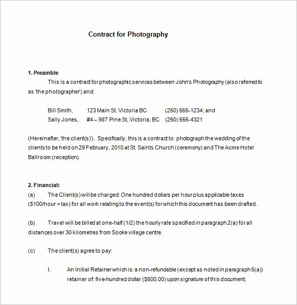 7 Mercial Graphy Contract Templates Free Word