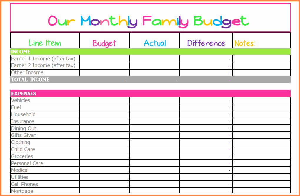 7 Monthly Bill Spreadsheet