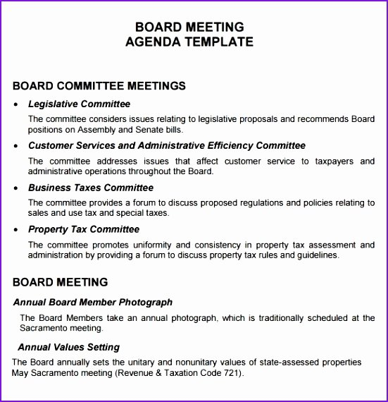 non profit board meeting agenda template