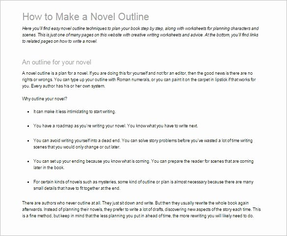 7 Novel Outline Templates Doc Pdf Excel