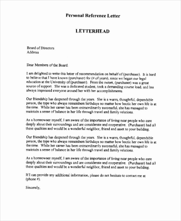 7 Personal Reference Letter Sample