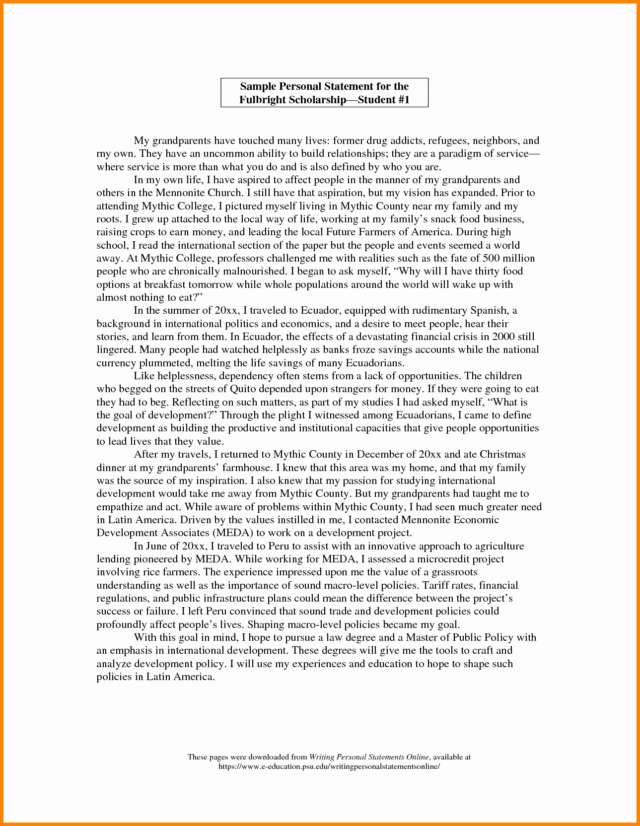 7 Personal Statement Of Qualifications Template