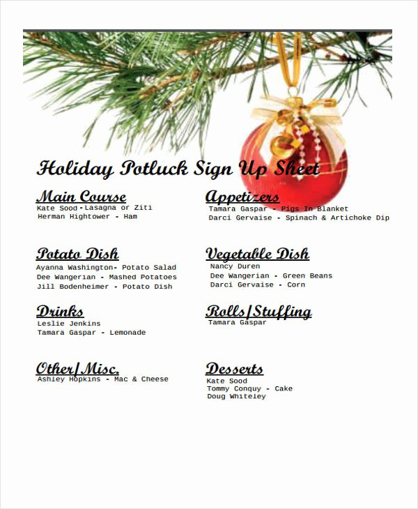 7 Potluck Signup Sheet Templates Free Sample Example