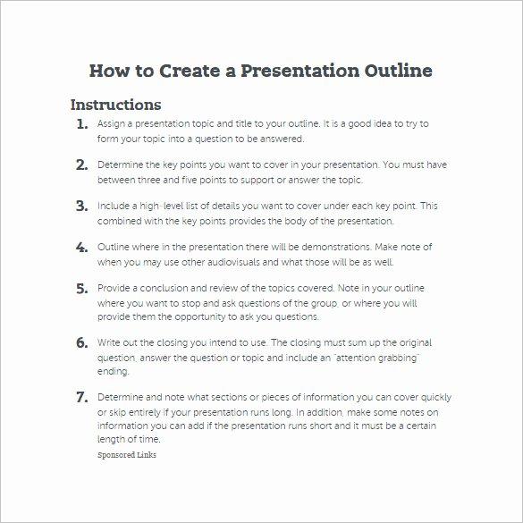 7 Presentation Outline Templates – Free Ppt Word & Pdf