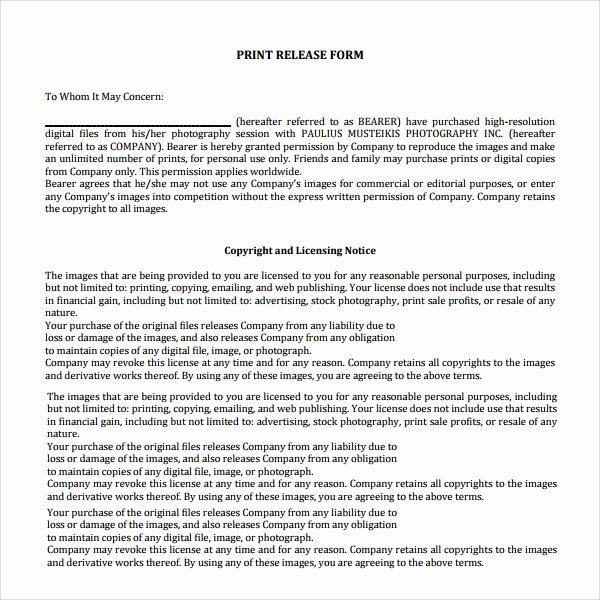 7 Print Release forms – Pdf