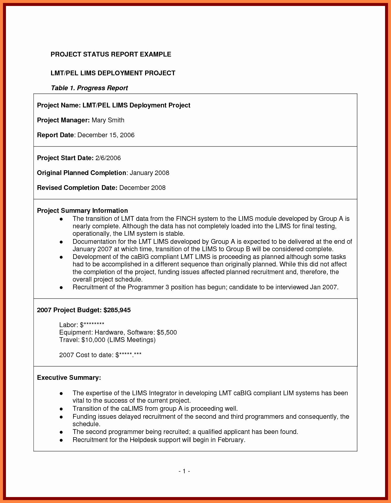 7 Project Management Final Report Template