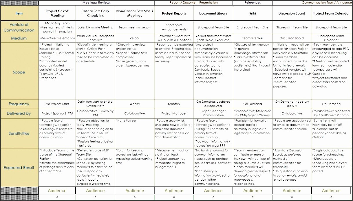 7 Project Team Munication Plan Template