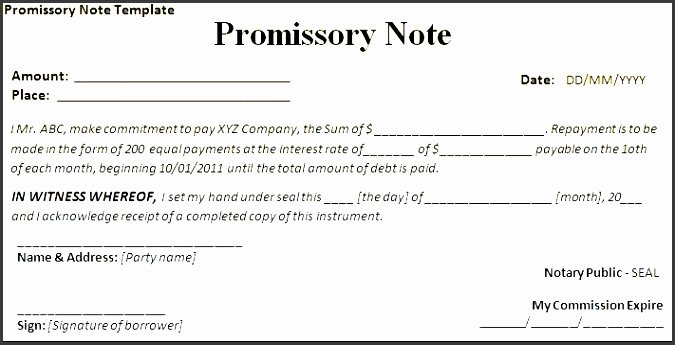 7 Promissory Note form Template Sampletemplatess