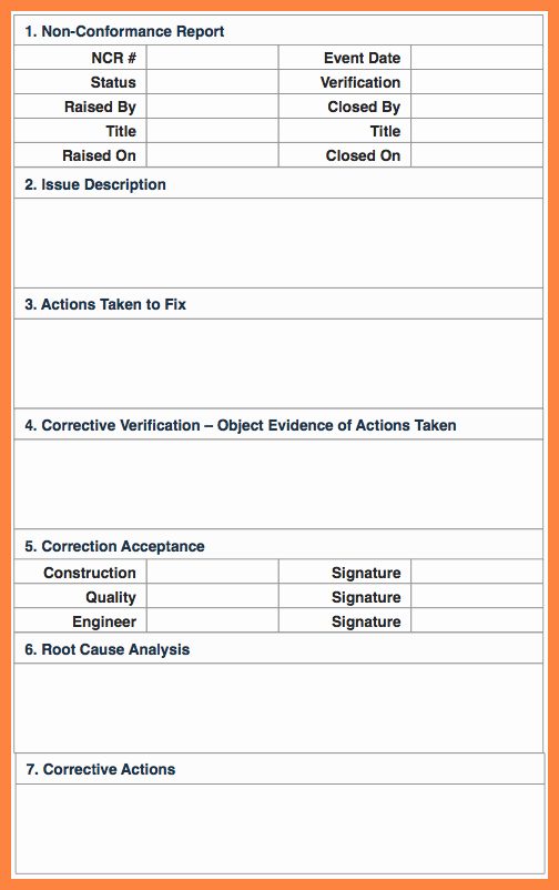 7 Quality Non Conformance Report Template