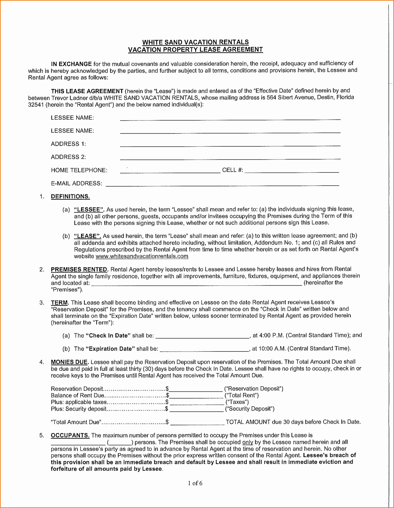 7 Rental Agreement form Florida