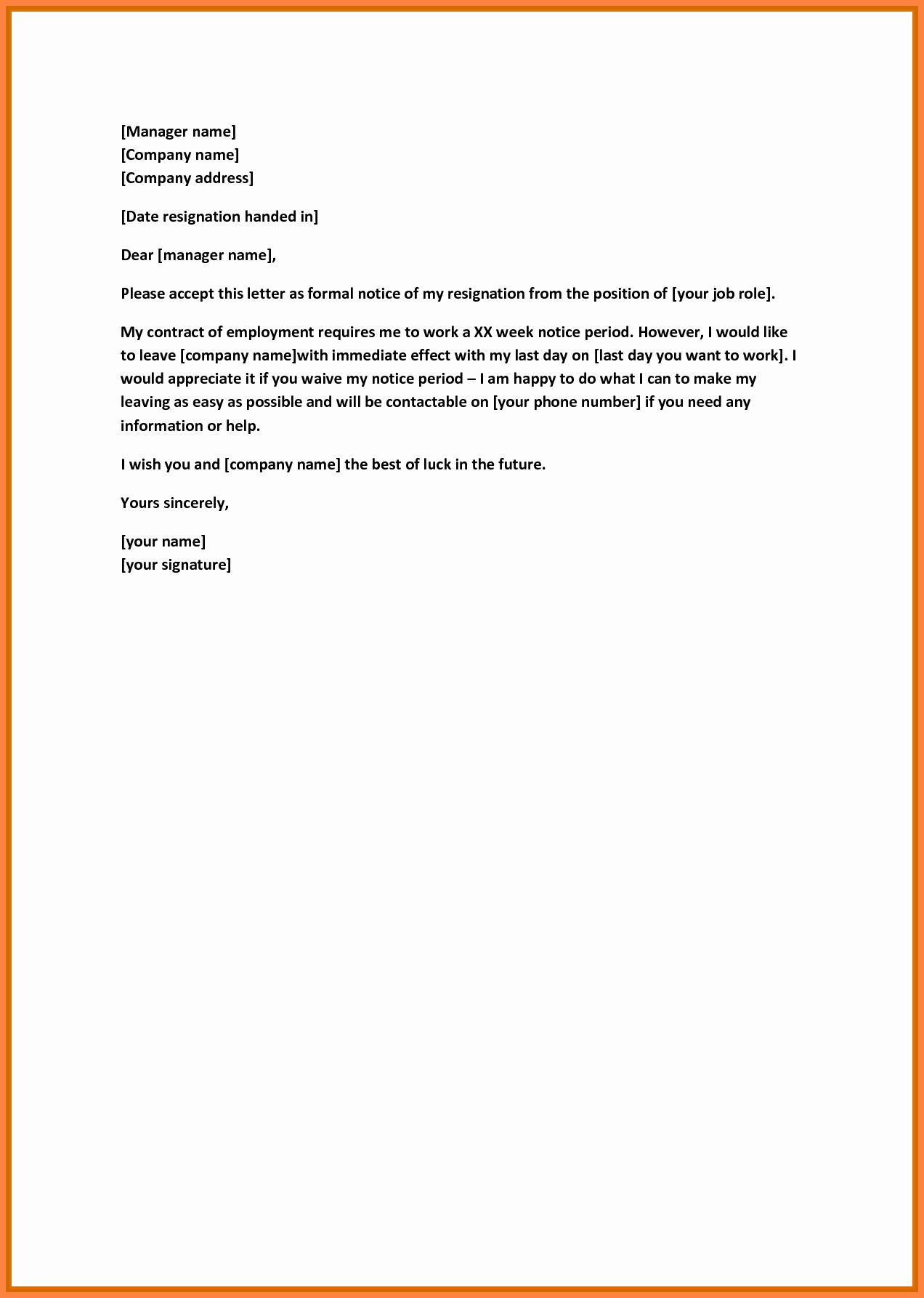 7 Resignation Letter 30 Days Notice Period Sample