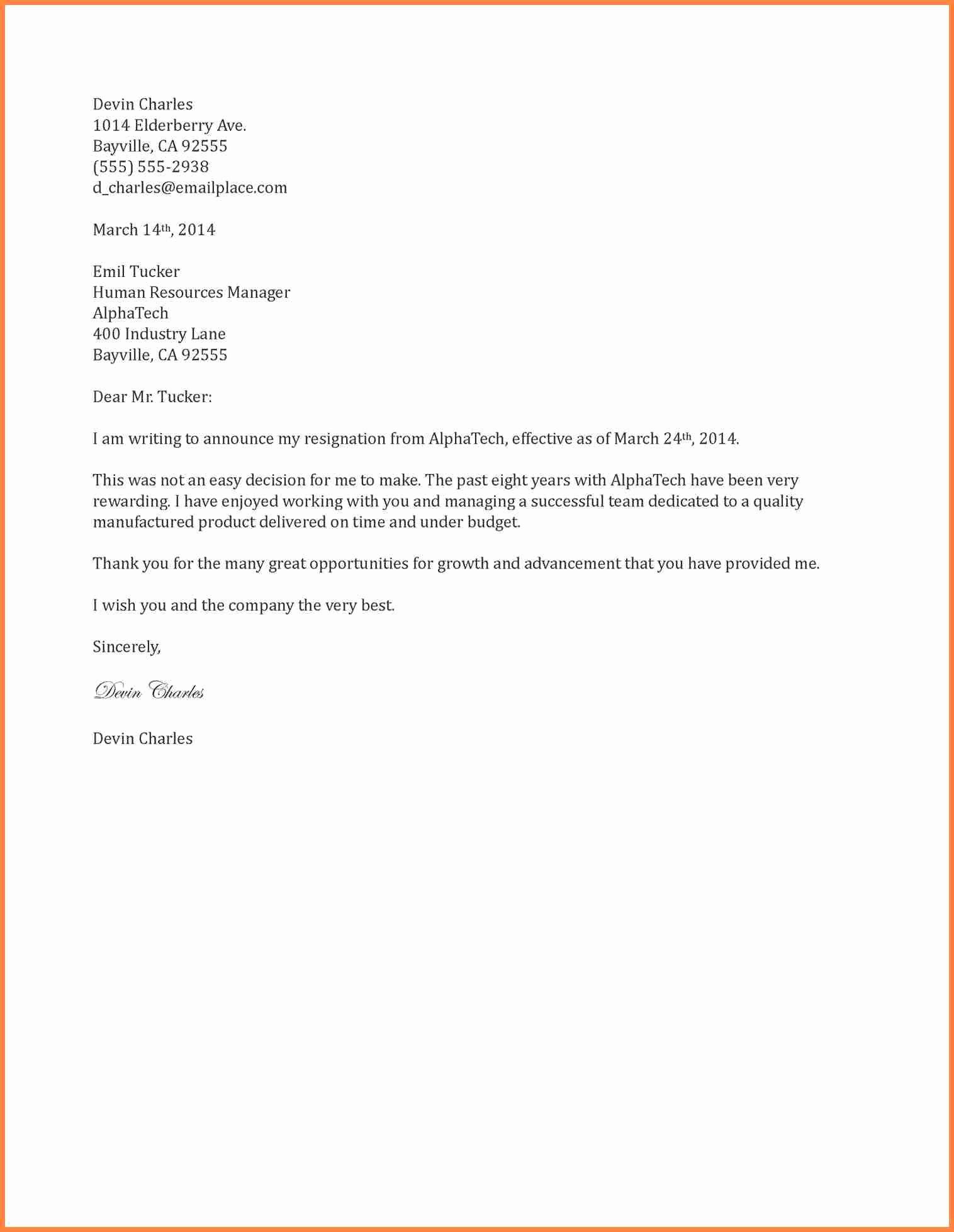7 Resignation Letter Two Week Notice Examples