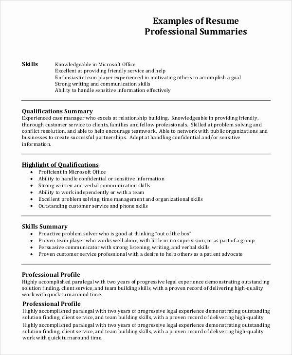 7 Resume Profile Examples