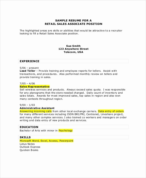 7 Sales associate Resume Samples