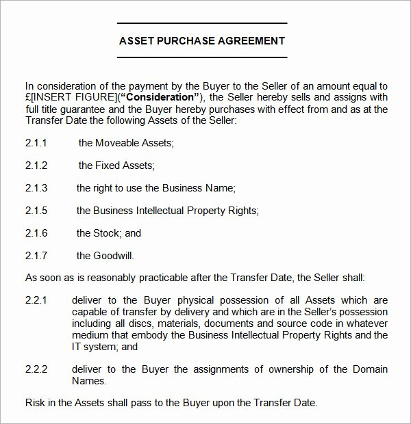 7 Sample asset Purchase Agreement Templates for Free