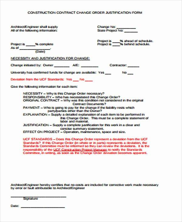 7 Sample Construction Change order forms