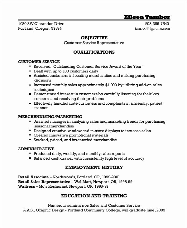 7 Sample Customer Service Representative Resumes