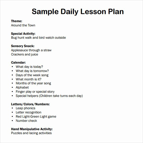 7 Sample Daily Lesson Plans