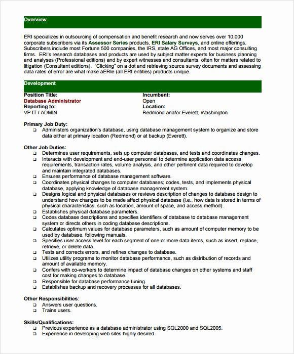 7 Sample Database Administrator Resumes
