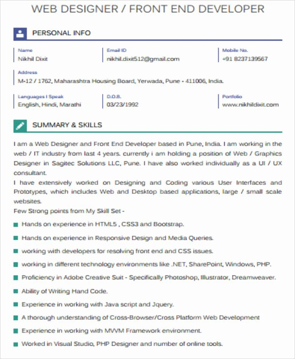7 Sample Front End Developer Resumes