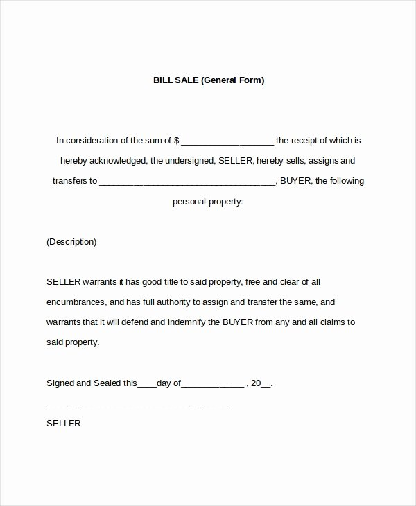 7 Sample General Bill Of Sale forms