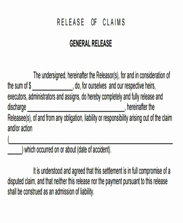 7 Sample General Liability Release forms