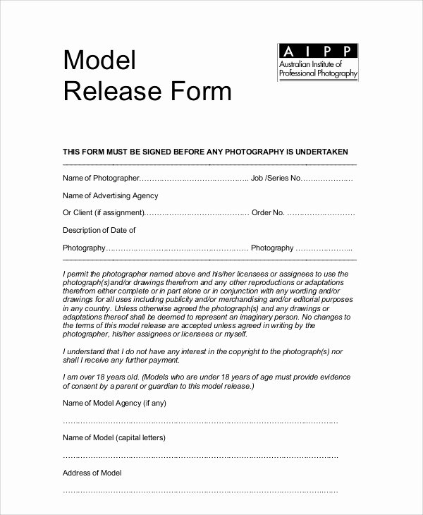 7 Sample Graphy Model Release forms