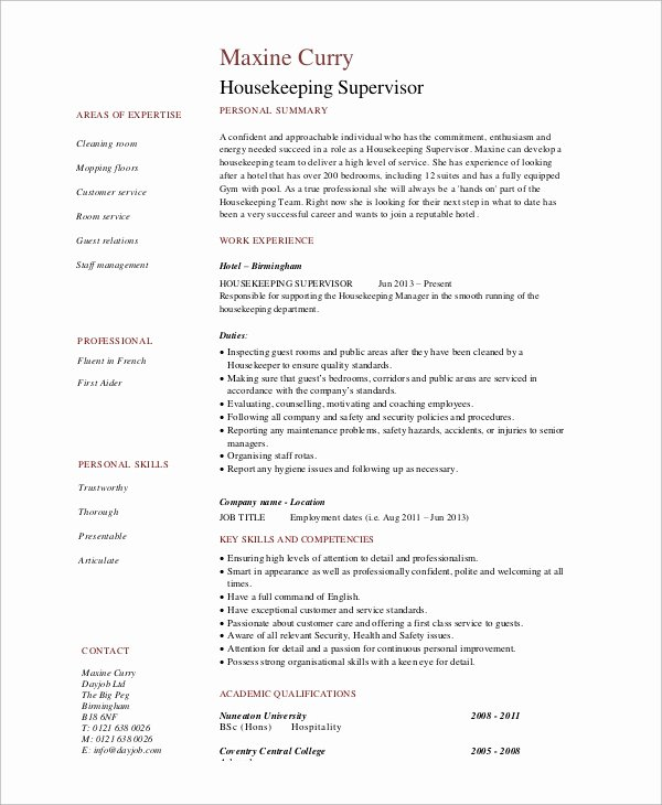 7 Sample Housekeeping Resumes