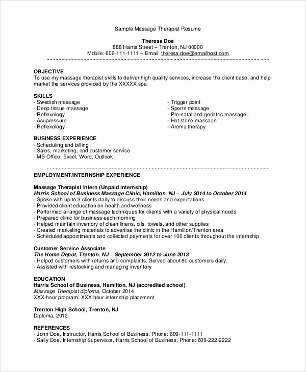 7 Sample Massage therapist Resumes – Pdf Doc
