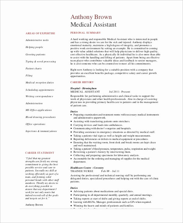 7 Sample Medical assistant Resumes