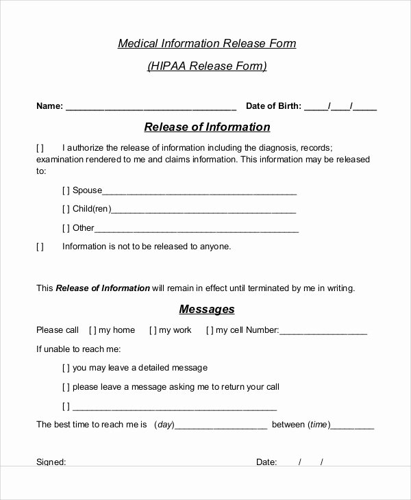 7 Sample Medical Information Release forms