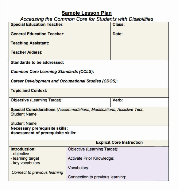 7 Sample Mon Core Lesson Plan Templates to Download