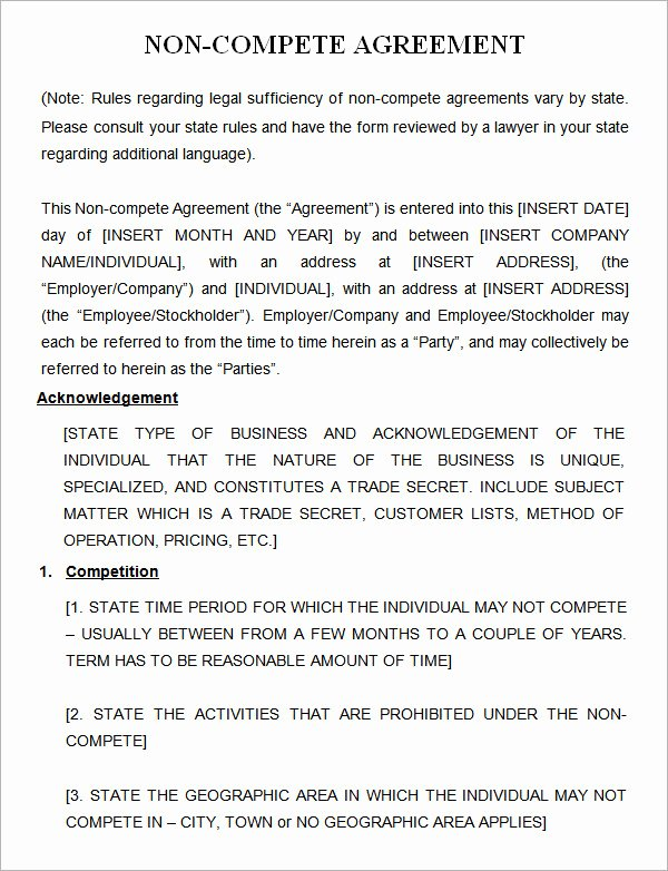 7 Sample Non Pete Agreement Templates to Download