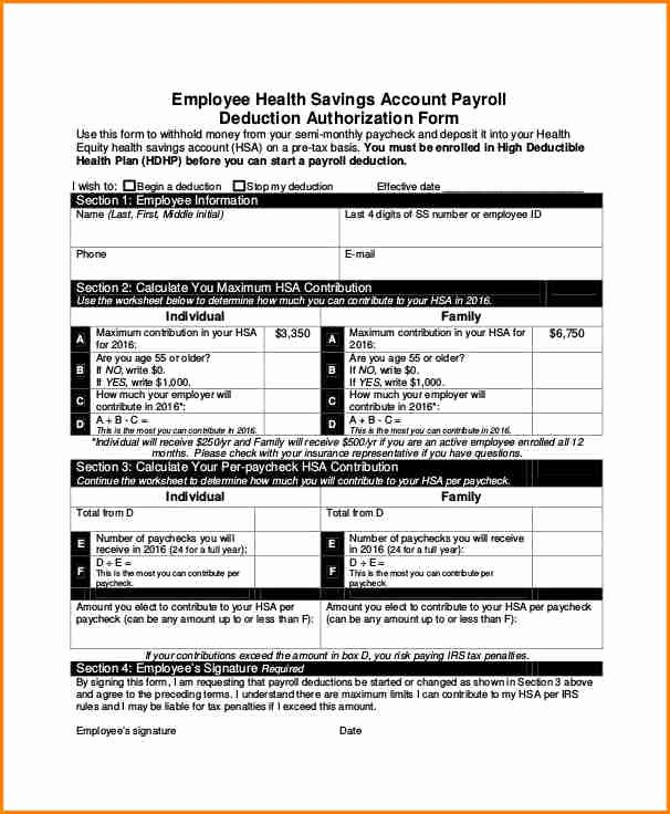 7 Sample Payroll Deduction form