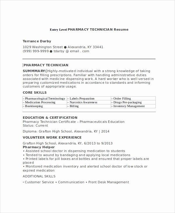 7 Sample Pharmacy Technician Resumes