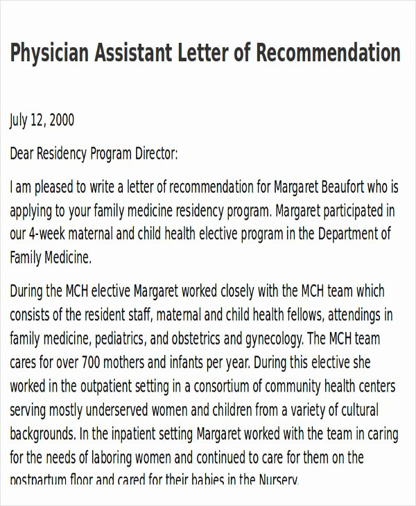 7 Sample Physician Letter Of Re Mendation – Word Pdf