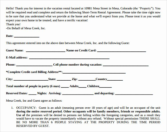 7 Sample Short Term Rental Agreements