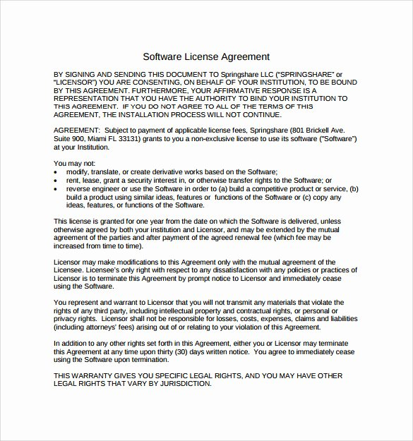 7 Sample software License Agreements