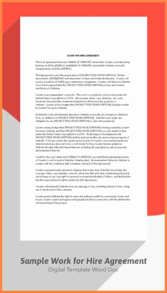 7 Sample Work for Hire Agreement Template
