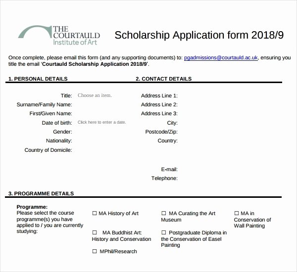 7 Scholarship Application form Templates Pdf
