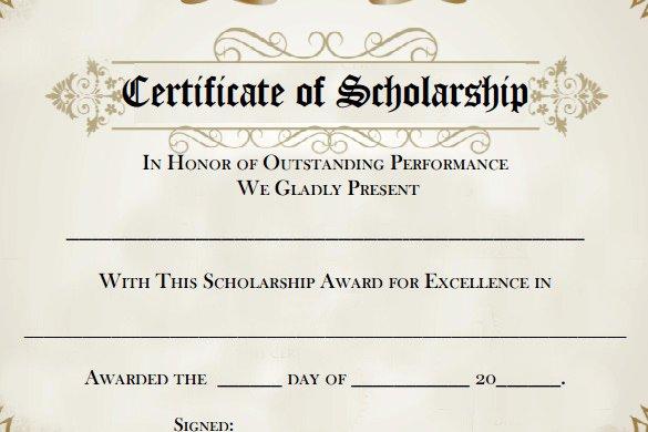 7 Scholarship Certificate Templates Word Psd